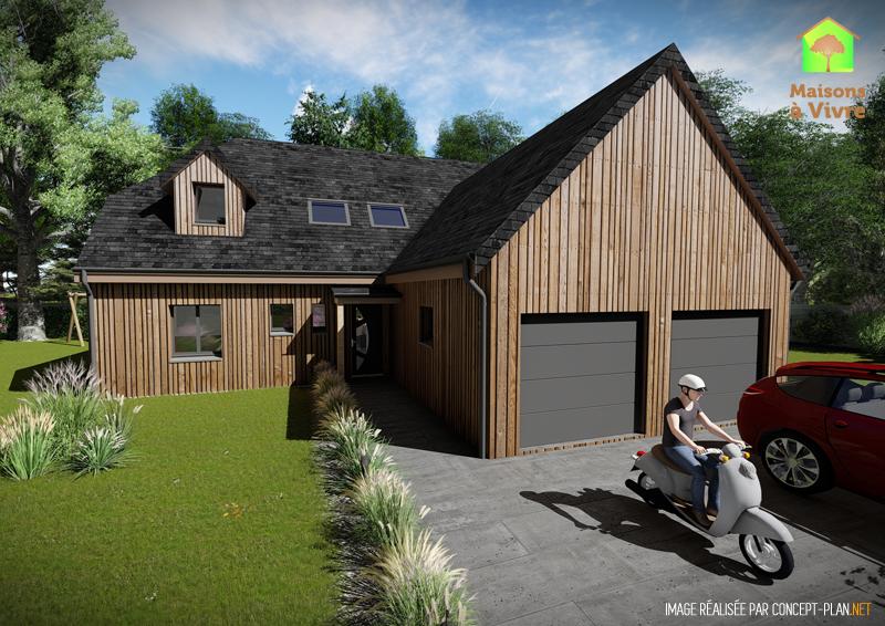 Modèle-de-maison-neuve-ossature-bois-Panorama-vue-extérieure-de-face-Maisons-à-Vivre