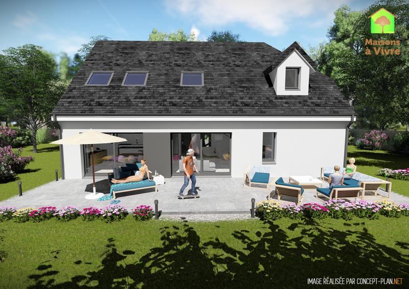 Modèle-de-maison-neuve-Panorama-Actuel-toit-gris-vue-extérieure-arrière-Maisons-à-Vivre