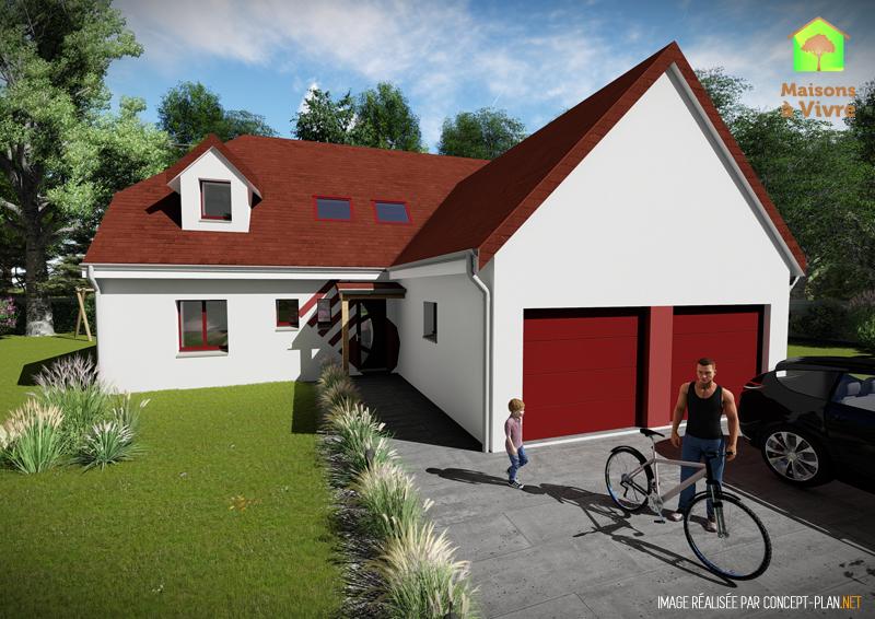 Modèle-de-maison-neuve-Panorama-Actuel-toit-rouge-vue-extérieure-de-face-Maisons-à-Vivre