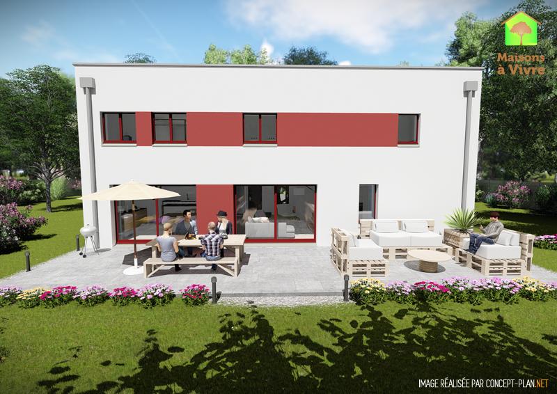 Modèle-de-maison-neuve-toit-plat-Panorama-Contemporain-vue-extérieure-arrière-Maisons-à-Vivre