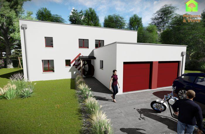 Modèle-de-maison-neuve-toit-plat-Panorama-Contemporain-vue-extérieure-de-face-Maisons-à-Vivre