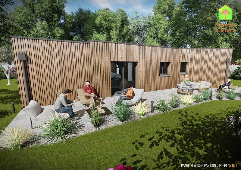 Vue-extérieure-arrière-maison-neuve-ossature-bois-toit-plat-modèle-Vision-Maisons-à-Vivre