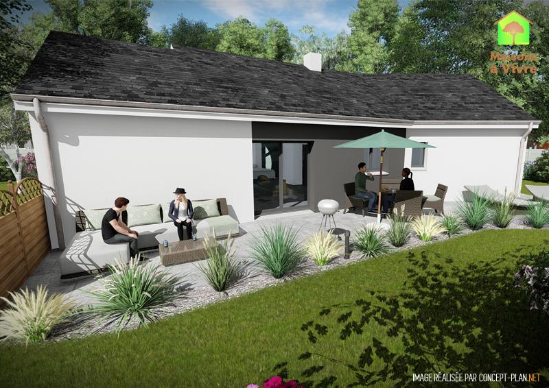 Modèle-de-maison-neuve-Vision-toit-gris-vue-extérieure-arrière-Maisons-à-Vivre
