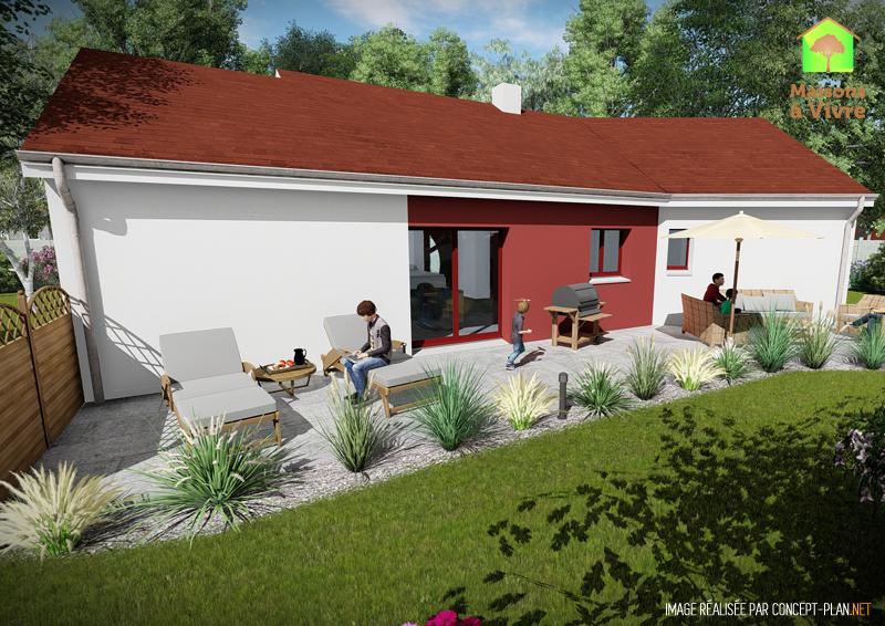 Modèle-de-maison-neuve-Vision-Actuel-toit-rouge-vue-extérieure-de-face-Maisons-à-Vivre