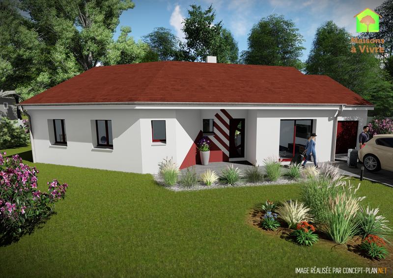 Modèle-de-maison-neuve-Vision-Actuel-toit-rouge-vue-extérieure-de-dos-Maisons-à-Vivre
