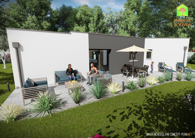 Vue-extérieure-arrière-maison-neuve-toit-plat-modèle-Vision-Contemporain-Maisons-à-Vivre